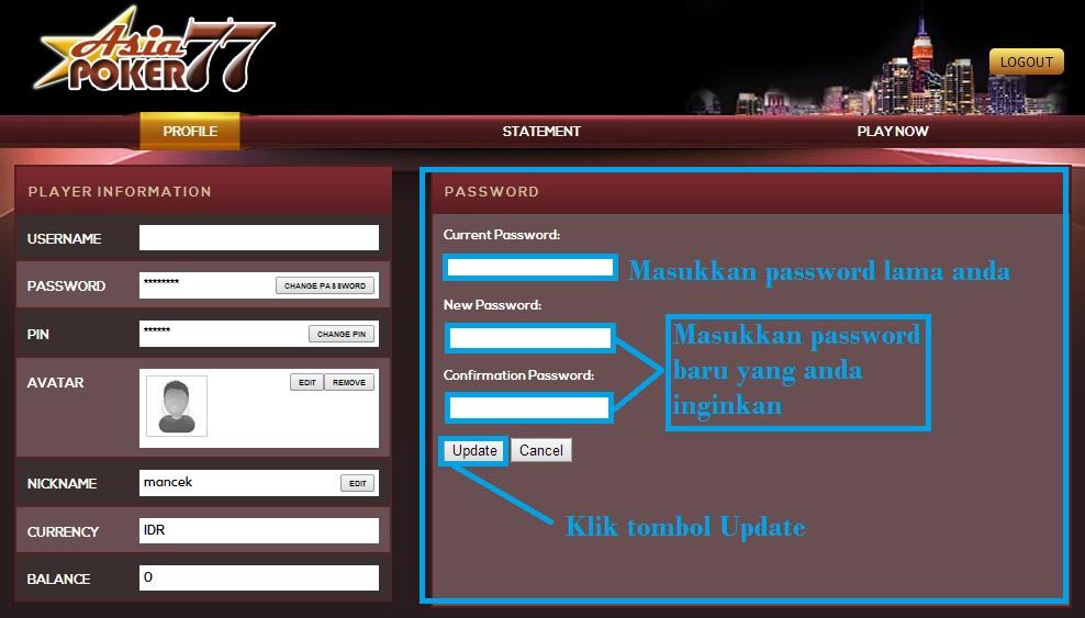 Masukkan password Lama user asiapoker77