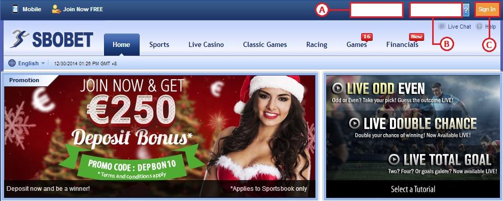 Gambar 1 - Panduan Cara Login Sbobet Casino