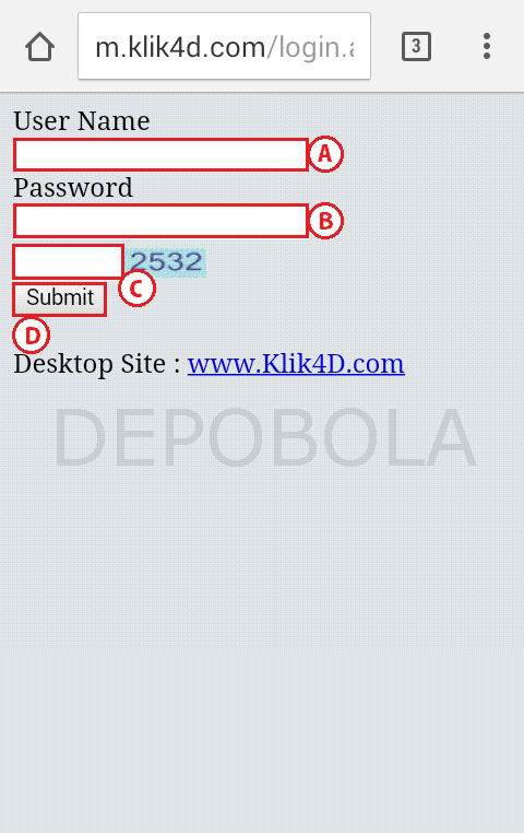 cara login klik4d mobile 1