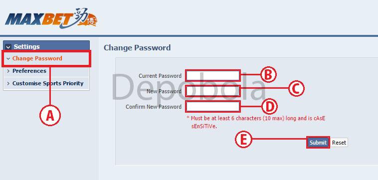 cara ubah password maxbet 2